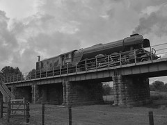 Photo of Locomotive No.60103 'Flying Scotsman' reversing over the Nene at Wansford, in a positioning move. Nene Valley Railway 29 09 2019 bw