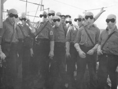Antiflash gear issued to the crew of HMNZS Roititi , Operation Grapple 1957
