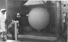 Weather ballloon on board HMNZS Roititri, Operation Grapple 1957