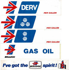 Photo of Bulldog Petroleum stickers, late 1970s / early 1980s