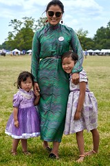 Mongolian mother with her two daughters
