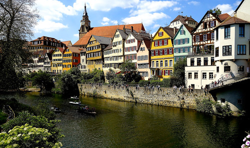 GERMANY, Tübingen- Neckarfront  mit Stiftskirche  , Farbenfrohe Häuser im Sommer am Neckar, 12975