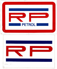 Photo of Roberts Petroleum stickers, late 1970s /  1980s