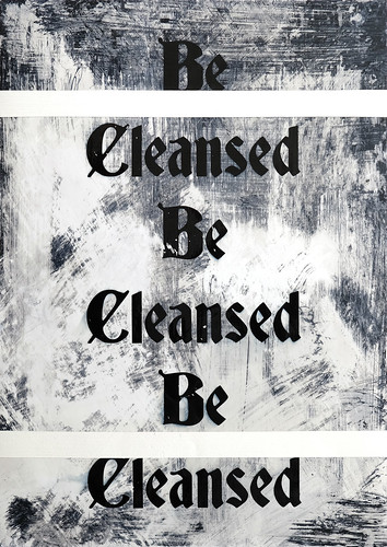 Zavier Ellis 'Be Cleansed (Repeat) II', 2020 Acrylic on digital gloss print 42x29.7cm
