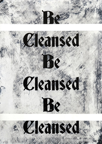 Zavier Ellis 'Be Cleansed (Repeat) I', 2020 Acrylic on digital gloss print 42x29.7cm
