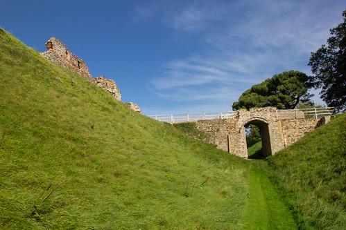 Curtain wall, moat and entrance bridge