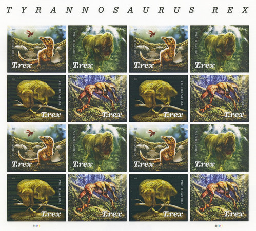 Tyrannosaurus rex 55 cents postage stamps (2019)