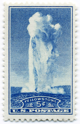Old Faithful Geyser 5 cents postage stamp (perforated) (1934)
