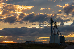 Transload terminal in Dimsdale, Alberta at sunset