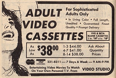 For Sophisticated Adults Only, 1980 ad for adult video cassettes
