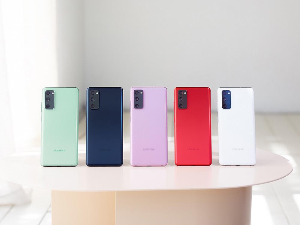 新聞照片1:Galaxy-S20-FE-5G共推出療癒藍、率真綠、浪漫紫、清新白、狂野紅五款顏色