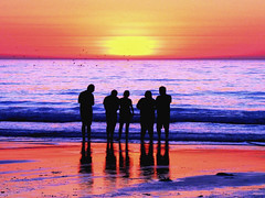 California Sundowners (moonjazz) Tags: california nature observe watch friends worship pacificocean coast color photography horizon sink set twilight peace pink fade below men woman guys gals swimming fun shores day light change time sharing respect witness earth sea seasons eternity astonish vision watchingthesunset observation sharedexperience people group gathering art