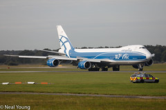Photo of AirBridgeCargo. AirBridgeCargo Airlines. VP-BJS . Boeing 747-8F.DONCASTER SHEFFIELD AIRPORT . DSA