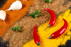 Food background with colorful spices