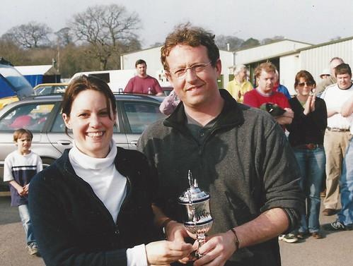 Lee Penn receives class winner's trophy from Montse Iles