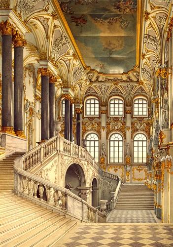 UKHTOMSKY, Konstantin Andreyevich (1818-1881).  Winter Palace. The Jordan Staircase, c. 1860s