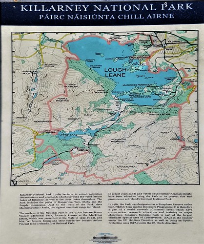 Ireland, Killarney, Ross Castle - Killarney National Park information board