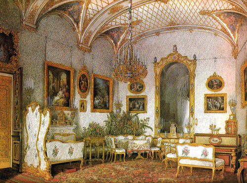 UKHTOMSKY, Konstantin Andreyevich (1818-1881).  Winter Palace, Alexandra Feodorovna White Drawing Room