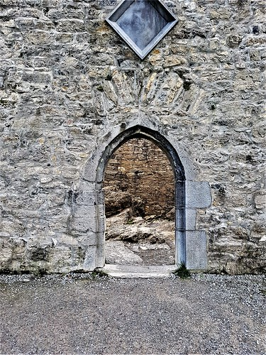 Ireland, Killarney, Ross Castle – a door in the castle wall