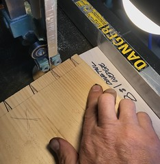Cutting the tails on the other board using a 8:1 ratio wedge between the board and fence.