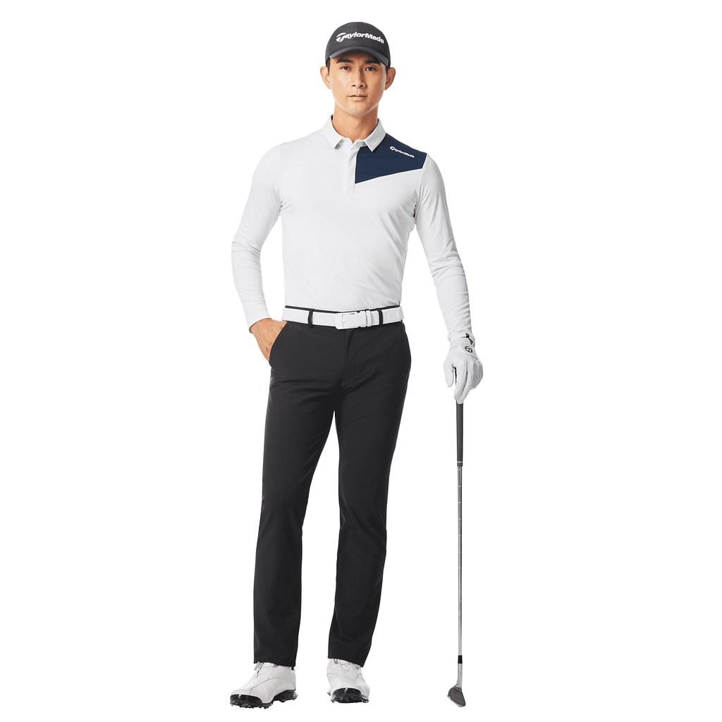 彈性伸縮和吸汗快乾功能的長袖Polo衫(白)