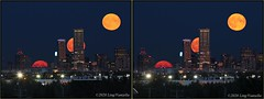Red Moon on the Rise in 3D