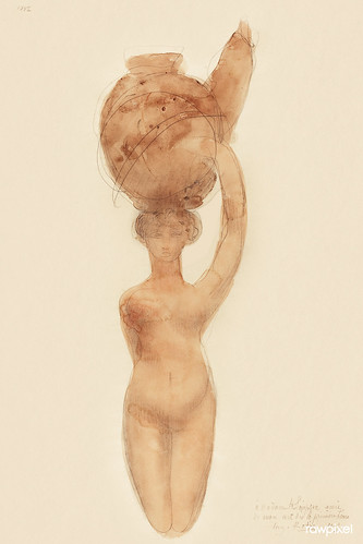 Nude Woman Carrying Vase on Head (1909) by Auguste Rodin. Original from The National Gallery of Art. Digitally enhanced by rawpixel.