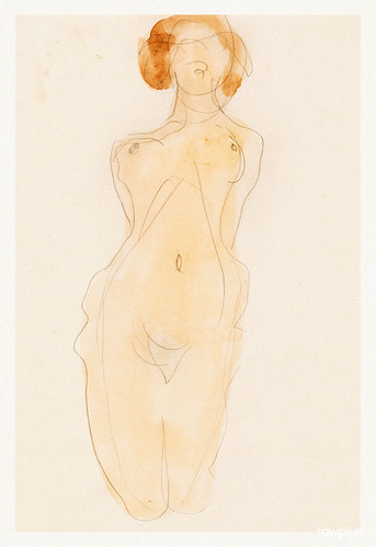 Naked woman posing sexually, vintage nude illustration. Extase by Auguste Rodin. Original from Yale University Art Gallery. Digitally enhanced by rawpixel.