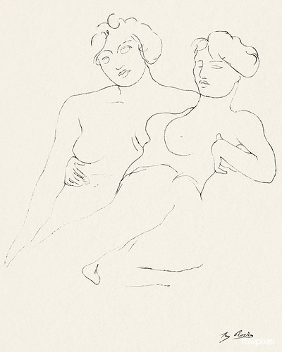 Naked women holding each other close, vintage nude illustration. Two Figures by Auguste Rodin. Original from The Cleveland Museum of Art. Digitally enhanced by rawpixel.