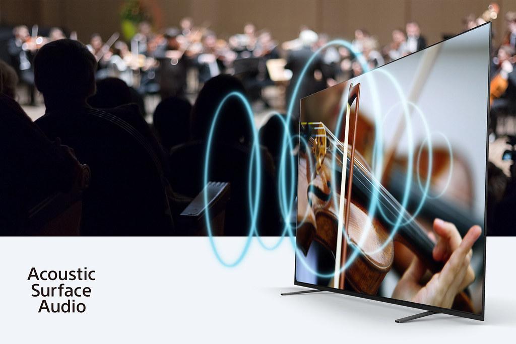 圖3) 螢幕就是揚聲器! BRAVIA A8H系列採用獨家平面聲場技術全面釋放動人聲勢,打造更貼近真實的視聽享受!