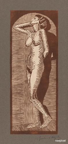 Vintage erotic nude art of a naked woman. Vrouwelijk naakt staand (1914) by Samuel Jessurun de Mesquita. Original from The Rijksmuseum. Digitally enhanced by rawpixel.