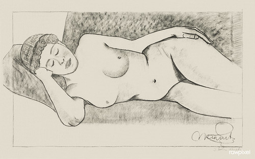 Vintage erotic nude art of a naked woman. Reclining Female Nude (1878–1944) by Samuel Jessurun de Mesquita. Original from The Rijksmuseum. Digitally enhanced by rawpixel.