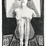 Front view of nude figure in geometric setting (Frontaal gezien, zittend naakt in geometrische omgeving) (1920) print in high resolution by Samuel Jessurun de Mesquita. Original from The Rijksmuseum. Digitally enhanced by rawpixel. thumbnail