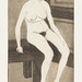 Naked woman showing her breasts, vintage nude illustration. Zittend naakt (1917) by Samuel Jessurun de Mesquita. Original from The Rijksmuseum. Digitally enhanced by rawpixel.