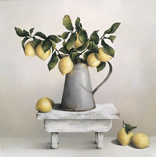Susan Cairns From the Lemon Tree Image Size24x24 Oil on Board Not for Sale