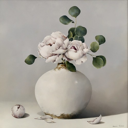 SusanCairns Peonies and Eucalyptus  Image Size16x16Oil on Board Not for Sale