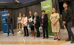 YUKON: Award recipients/lauréats Liard First Nation Language Department and its contributors/et ses contributeurs with/avec Premier/premier ministre Sandy Silver