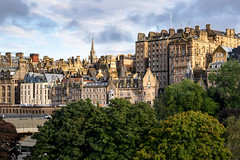 The Old City of Edinburgh, seen from New Town. Scotland, United Kingdom
