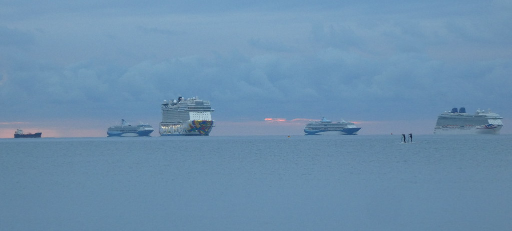 Cruise ships early yesterday morning