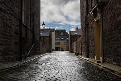 Cobble stone reflections in Edinburgh's New Town, Scotland, UK