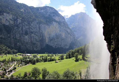 View from behind Staubbachfall, Lauterbrunnen Valley, Switzerland