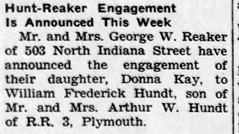 1960 - Bill Hundt marries Donna Reaker - Enquirer - 28 Jul 1960