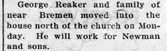 1948 - George Reaker family move to Culver - Culver Citizen - 30 Jun 1948