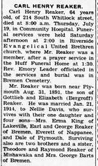 1956 - Carl Reaker obit - Enquirer - 26 Jul 1956