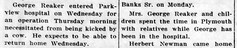 1948 - George Reaker kicked by cow - Culver Citizen - 27 Oct 1948