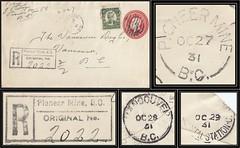 British Columbia / B.C. Postal History / Registered Letter - 27 / 29 October 1931 - PIONEER MINE, B.C. (split ring / broken circle cancel / postmark) to Vancouver, B.C.
