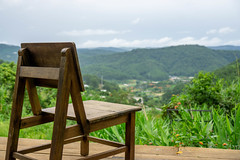 Wooden Chair with Mountain View in the Background