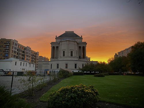 back of the Scottish Rite Temple at sunset