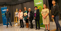 YUKON: Award recipients/lauréats Liard First Nation Language Department and its contributors/et ses contributeurs with/avec Premier/premier ministre Sandy Silver