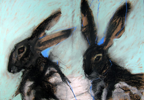 MARGO BANKS  201 Hares in Blue  64x90cm  Mixed Media on Paper